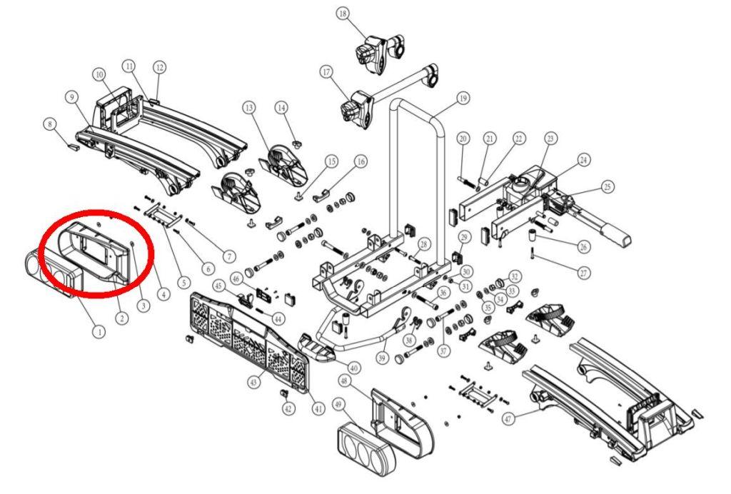 Rámeček světelné rampy Oris Traveller/Eufab Premium - levý