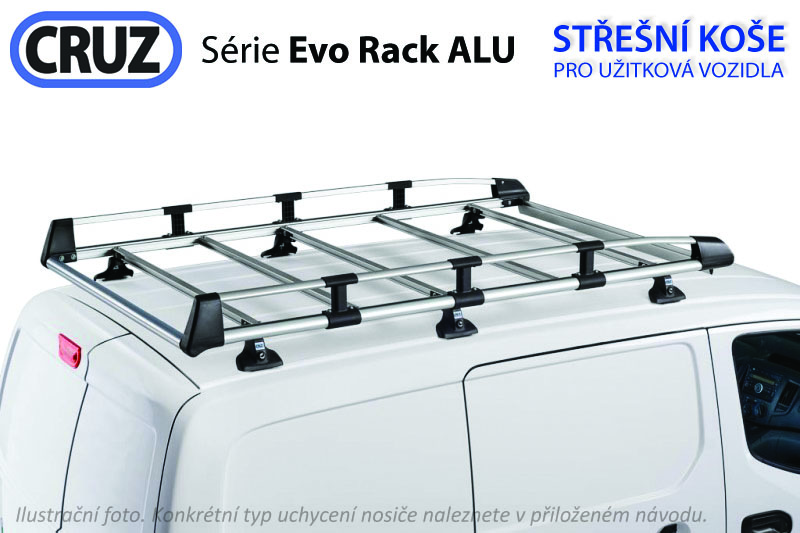 Střešní koš Opel Vivaro / Renault Trafic (14-) / Fiat Talento / Nissan NV300 (16-) L2H1, Cruz Evo ALU