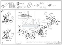 Tažné zařízení Fiat Punto Grande 2005-2010 , pevný čep 2 šrouby, Galia